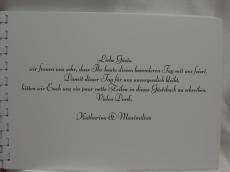 Handgefertigtes personalisiertes Gästebuch zur Hochzeit Blütenranke rot