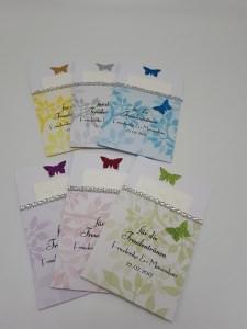 Freudentränen inkl. geprägtem Taschentuch Farbwahl Schmetterlinge Gastgeschenke