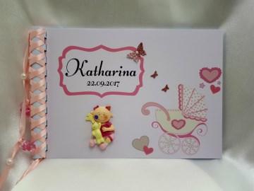 Baby Album Babytagebuch zur Geburt oder Taufe mit 2D-Figur Mädchen rosa