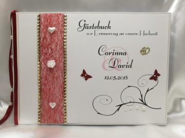 Gästebuch zur Hochzeit mit Fragen Herzen weiß