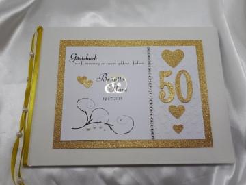 Gästebuch goldene Hochzeit Metallic A4 Herzen gold