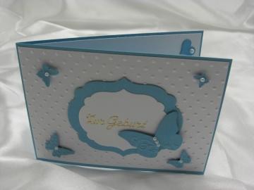 Grußkarte Karte zur Geburt Junge blau