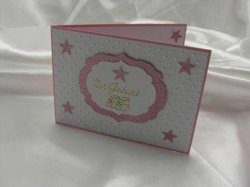 Grußkarte Karte zur Geburt Mädchen rosa Sterne