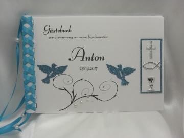 Gästebuch zur Konfirmation blau Tauben