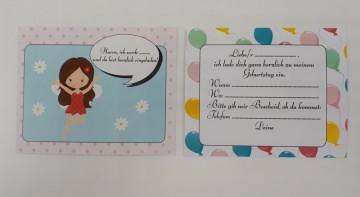 10 Einladungskarten Kindergeburtstag Fee Mädchen