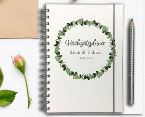 Hochzeitsplaner - Wedding Planer - personalisiert - Eukalyptus Kranz