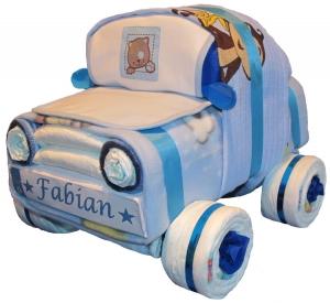 Windeltorte - Windelauto mit Kennzeichen - Auto aus Windeln - blau