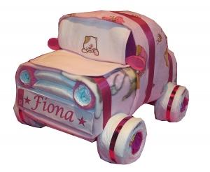 Windeltorte - Windelauto mit Kennzeichen - Auto aus Windeln - rosa