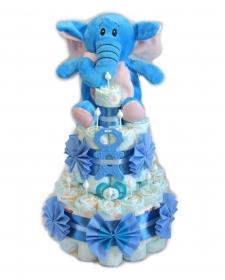 Kleine Windeltorte Beißmännchen + Elefant in blau - Geschenk zur Geburt