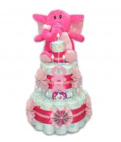 Kleine Windeltorte - Beißmännchen + Elefant in rosa - Geschenk zur Geburt