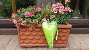 Liebevoll genähte Herzen aus beschichteter Baumwolle –auch für Gartendeko- in grün mit kleinen weißen Punkten - Handarbeit kaufen