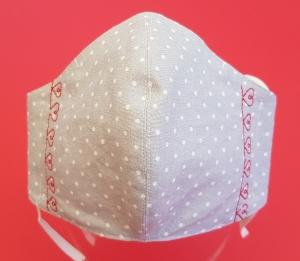 Behelfs-Mund-Nase-Maske aus Baumwolle, waschbar, Grau mit weißen Punkten- rote Herzen - Handarbeit kaufen