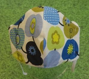 Behelfs-Mund-Nase-Maske aus Baumwolle, waschbar, blaugrün gemustert mit Igelstickung - Handarbeit kaufen