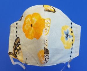 Behelfs-Mund-Nase-Maske aus Baumwolle, waschbar, Schmetterlingsmuster mit Stickung - Handarbeit kaufen