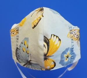 Behelfs-Mund-Nase-Maske aus Baumwolle, waschbar, -- Schmetterlingsmuster mit Schmetterling Stickung - Handarbeit kaufen