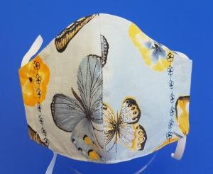 Behelfs-Mund-Nase-Maske aus Baumwolle, waschbar -- Schmetterlingsmuster mit Blumenstickung - Handarbeit kaufen