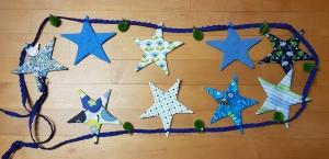 genähte Sternengirlande/Wimpelkette in Blau- und Grüntönen - auch passend für das Kinderzimmer - Einzelstück - Handarbeit kaufen