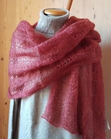 handgestrickter Schal in Lace-Technik in einem edlem braunen Farbton - natürlich ein Unikat! - Handarbeit kaufen