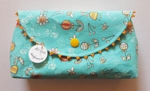 genähte kleine Tasche aus Baumwollstoff in Türkis-, Weiß- und Gelbtönen mit Perlen - Handarbeit kaufen