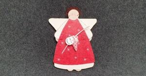 Ein Engel, Schutzengel für alle Fälle! Ausgesägt und liebevoll bemalt, mit genähtem Herz - rot, weiß, rosa - Einzelstück - Handarbeit kaufen