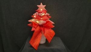 genähte Tischdekoration mit Beleuchtung - Sternenbaum - in rot und weiß für stimmungsvollen Flair - Handarbeit kaufen