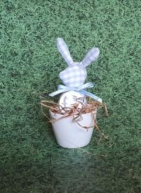 genähtes Häschen im Eierbecher - Baumwollstoff hellblau weiß kariert - für den liebevoll gedeckten Frühstückstisch - Handarbeit kaufen