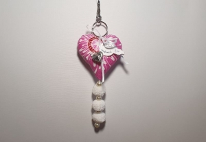 genähter Taschenanhänger in Herzform - pink und weiß - ein individuelles Geschenk - Handarbeit kaufen