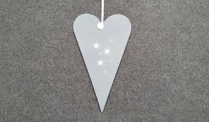 ausgesägtes großes Herz im skandinavischen Stil in grau mit Sternen - einfach hygge! - Handarbeit kaufen