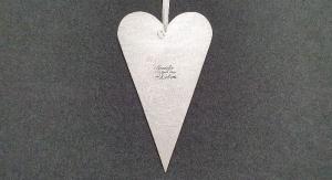 XL-Herz im skandinavischen Stil, silber mit schwarzem Schriftzug  - Handarbeit kaufen
