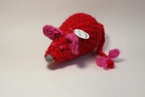 Pflegeleichtes Haustier sucht neues Heim - gehäkelte Maus - rot/pink/grau - Einzelstück kaufen  - Handarbeit kaufen