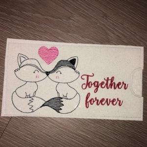 Schokihülle Schokoladenhülle/ Schokitasche/ Schokiverpackung Handarbeit Valentinstag Together Forever - Handarbeit kaufen