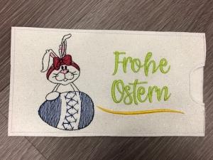 Süsse Osterhasen Tasche Schokoladenhülle/ Schokitasche/ Schokiverpackung Schokolade weiß Frohe Ostern Hase handarbeit