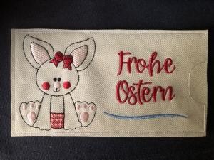 Süsse Osterhasen Tasche Schokoladenhülle/ Schokitasche/ Schokiverpackung Schokolade weiß Frohe Ostern Hase handarbeit - Handarbeit kaufen