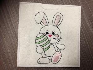 Schokihülle Schokoladenhülle/ Schokitasche/ Schokiverpackung/ Quadratisch Handarbeit, Ostern, Osterhase  - Handarbeit kaufen