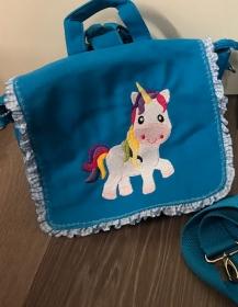 Schöne bestickte Kindergartentasche/ Rucksack für kleine Mädchen schönes Geschenk Einhorn