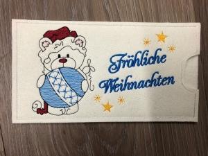 Schokihülle Schokoladenhülle/ Schokitasche/ Schokiverpackung Handarbeit Fröhliche Weihnachten Bärchen - Handarbeit kaufen