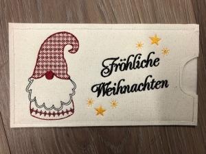 Schokihülle Schokoladenhülle/ Schokitasche/ Schokiverpackung Handarbeit Fröhliche Weihnachten Nikolaus - Handarbeit kaufen