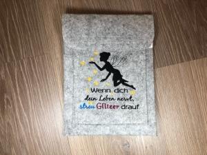Schöne Tablett Tasche Filz grau bestickt mit Elfe Fee