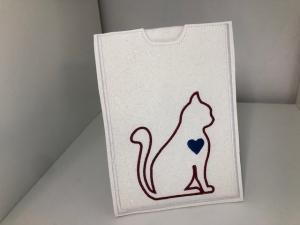 Schöne Impfpasshülle für die Katze, Hülle,  Kunsterleder mit Glitzer, Handarbeit,  gestickt,  Katze - Handarbeit kaufen