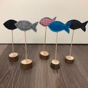 Ein schöner Deko-Fisch -Tischdeko für Kommunion, Konfirmation oder Taufe Fisch aus Filz Holz Handarbeit - Handarbeit kaufen