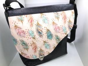 Sehr schöne Handtasche Tasche aus Glitzer Kunstleder mit  Federmotiv Feder Handarbeit - Handarbeit kaufen