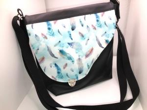 Sehr schöne Handtasche Tasche aus Kunstleder mit  Federmotiv Feder  - Handarbeit kaufen