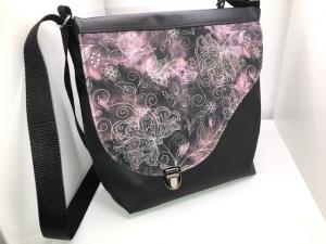 Sehr schöne Handtasche Tasche aus Kunstleder mit  tollem Stoff  - Handarbeit kaufen