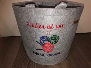 Sehr schöne bestickte Filztasche/ Tragetasche/ Handarbeitskorb Stricken bestickt handarbeit   - Handarbeit kaufen