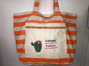 Sehr schöne bestickte Shopper Beach Badetasche Strandtasche Tasche Einkaufstasche Urlaub Kaktusse - Handarbeit kaufen