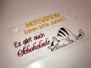 Schokihülle Schokoladenhülle/ Schokitasche/ Schokiverpackung Handarbeit Katze Motivation - Handarbeit kaufen