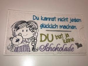 Schokihülle Schokoladenhülle/ Schokitasche/ Schokiverpackung Handarbeit Mädchen Bär Glücklich  - Handarbeit kaufen