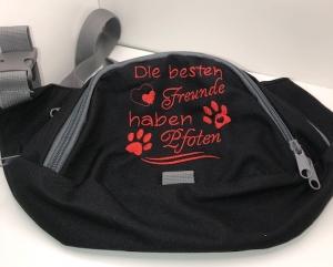 Schöne Gürteltasche/ Bauchtasche mit tollem Spruch bestickt Hund - Handarbeit kaufen