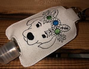 Taschenbaumler/ Schlüsselanhänger, Anhänger für Desinfektionsmittel/ Schisserbeutel Hund - Handarbeit kaufen