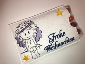 Adventskalender to go mit Bonbons, gestickt Engel, witzige Geschenkidee - Handarbeit kaufen
